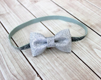 Silver Glitter Headband - Silver Hair Bow - Newborn Headband - Baby Headband - Silver Baby Headband - Baby Girl Headband