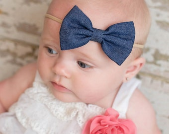 Denim Bow Headband, Baby Girl Headband, Nylon Headband, Baby Bow Headband, Newborn Headband, Baby Gift, Infant Headband