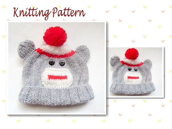 Knitting Pattern Sock Monkey Beanie Baby Beanie Hat Baby Hat
