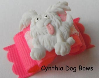 20% OFF CLEARANCE Dog Bow- 5/8 Darling White Dog Maltese/Shih Tzu/Poodle Bow in Pink and White