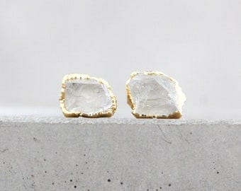 quartz earrings / crystal quartz / druzy earrings / gemstone earrings / tiny studs / stud earrings / crystal earring / post earrings/mineral