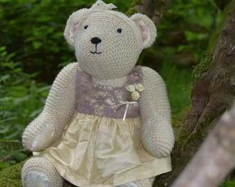 Louisa. A hand knitted artist bear from Black Mountain Bears.