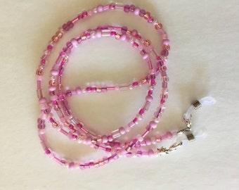 Eyeglass Chain, Czech Pink Glass Beaded Eyeglass Chain, Women's Beaded Eyeglass Chain, Women's Beaded  Eyeglass Holder