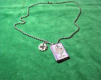 Jane Eyre Book Necklace with a Flower Charm ~