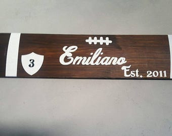 wood sign personalized football design with  name