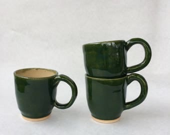 Handmade Ceramic Teacups // Set of 3 in Hunter Green and Crème