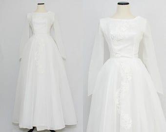 1950s White Wedding Dress - Size Small Vintage 50s Basque Waist Wedding Gown by Rainbow Dress Company