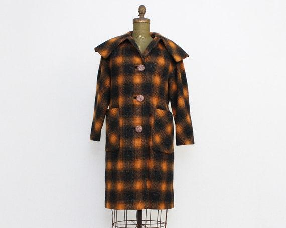 Plaid Wool Coat - Vintage 1960s Milgrom Lewis Orange and Black Plaid Winter Coat