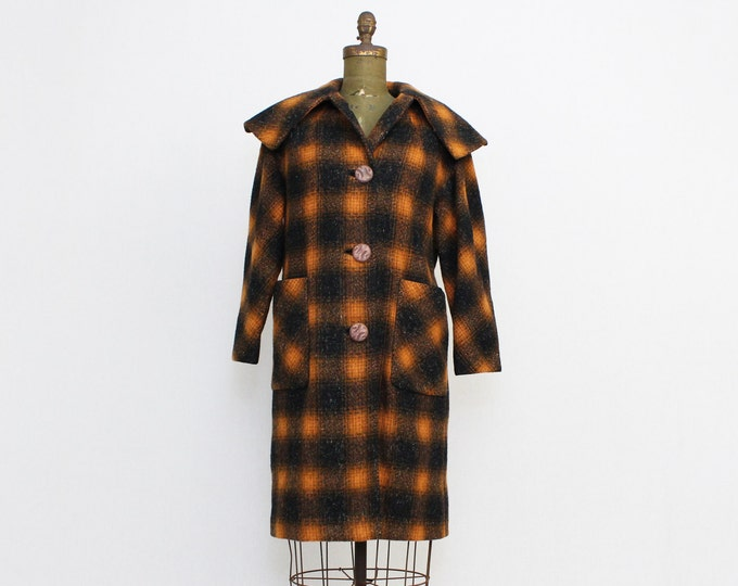 Plaid Wool Coat - Vintage 1960s Milgrom Lewis Orange and Black Plaid Winter Coat