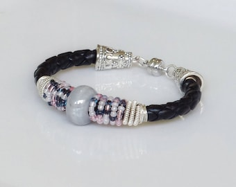 Black and gray bracelet, Ceramic and glass beads bracelet, Bohemian bracelet
