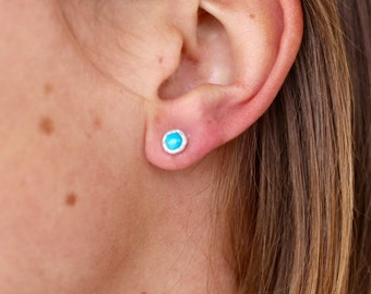 Natural Turquoise Recycled Sterling Silver Studs