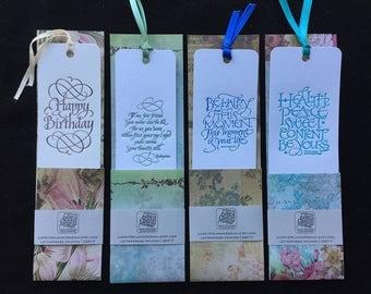 Calligraphic Letterpressed Literary Bookmarks