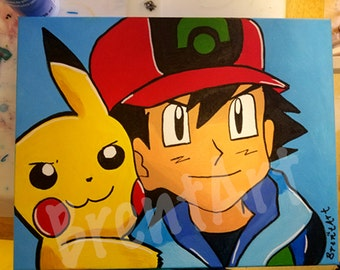"Ash and Pikachu Painting (14""x11"")"