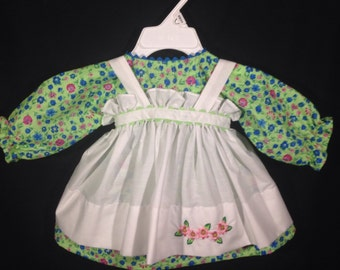 Dress and Apron for 25 INCH Raggedy Ann Doll; Green dress with  flowers, embroidered apron, doll clothes