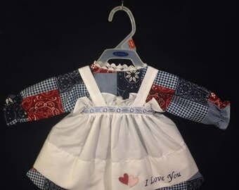 Dress and Apron for 25 inch Raggedy Ann Doll;Burgundy and Blue Patchwork print,Embroidered Apron with lace and ribbon trim on the waistband
