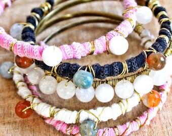 PASSION bracelet set 5teilig wire wrapping agate boho hippie gemstone