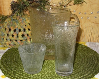 Jeanette Pitcher with 11 glasses / Crystal Ice /  Pitcher and Glasses / Clear Glass Pitcher /