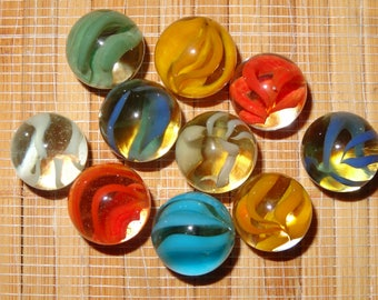 Lot of 10 Vintage Marbles / Caged Cat Eye Marbles / Glass Marbles / Toy Marbles / Craft Supplies / Game Marbles / Jewelry SUpplies
