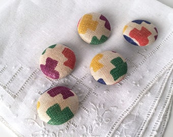 """Vintage 30s Cover Buttons, Abstract, Multicolor, Rainbow, Fabric Covered Buttons, Set of 5, 1"""", 25 mm, Defiance Button Company, Cloth Shank"""