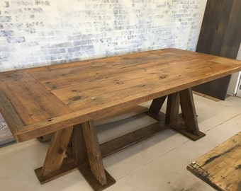 Reclaimed wood trestle base dining table, farm table 8 ft table MADE TO ORDER