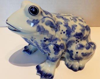 1980s Andrea Sadek Frog Bank Blue White Ceramic