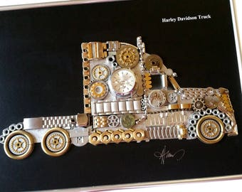 Harley Davidson Truck Code M 053, Steampunk Art, Gifts for Men, Luxury Gift, Wedding Gift, Office Decor, Home Decor, Wall Art