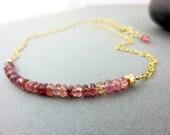 Pink Tourmaline Chakra Necklace, 14K Gold Filled Minimalist Dainty Bar Necklace, 4th Chakra Heart Chakra, Healing Crystals Chakra Jewelry
