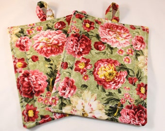 Pot Holders and Oven Mitts, Green, Pink and Yellow Mum Flower Vintage Pot Holder Set, Hotpads, Rectangle, Trivet, Oven Mitt