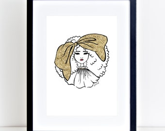 Fashion Illustration, Big Hair Bow Gold, A4, Printable, Atomik