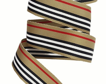 Vintage Gross grain ribbon trim, Striped gross grain ribbon trim,  Burberry Style trim