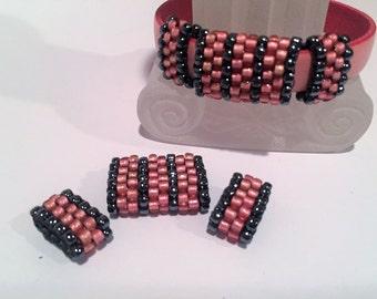 SALE: 3pc Handmade Beaded Tube Set, 10mm Flat Leather,  6mm round cord, Versatile , Metallic Hematite and Dark Pink