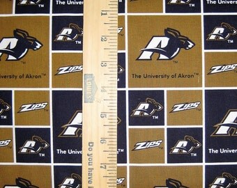 NCAA University of Akron Zips Blue & Gold College Logo 020 Blocked Cotton Fabric by Sykel! [Choose Your Cut Size]