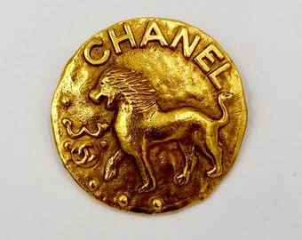 Vintage CHANEL LEO PIN Brooch Gold Tone Raised Chanel Logo Leo The Lion Good Luck Pin