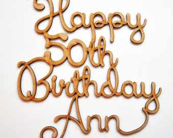 Personalised Happy Birthday Sign Cake Topper Laser cut wood any age