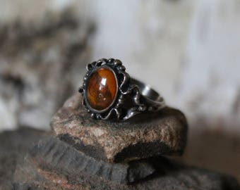 Ornate Art Nouveau Sterling Silver 925 Natural Baltic Amber Ring size 4.75 Pinky Ring  4.2 grams