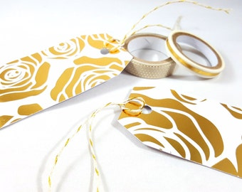 Blank Gold Rose Design Gift Tags