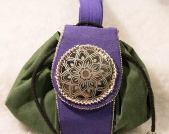 Green & Purple Ultrasuede  pouch