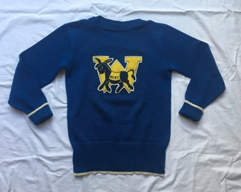 RESERVED ON LAYAWAY//////Vintage 1940's Blue Pullover Varsity Sweater
