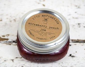 Organic Strawberry Peach Jam 8 oz