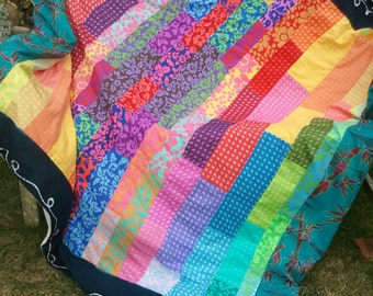 Patchwork Throw, Bed Cover, Beach Blanket or Picnic Rug - made to order