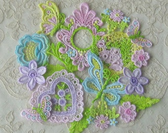 Hand Dyed Venice Lace Applique Combo Pack - Great for Crazy Quilting or Craft and Sewing Projects