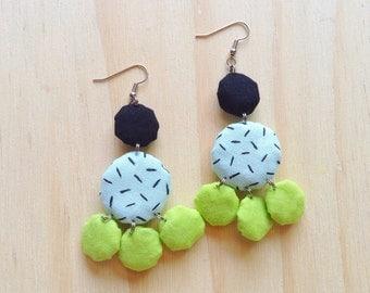 Fiesta Handpainted Fabric Cactus Dangle Earrings Lime Green