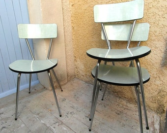 3 mint green formica chairs, 50's chairs, French vintage kitchen chairs, bathroom chair, mid century home decor, 50's furniture.