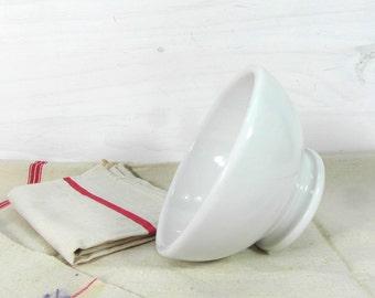 French cafe au lait bowl, white latte bowl, French vintage stoneware bowl, Mediterranean dinnerware, Provencal dinnerware, French chic.