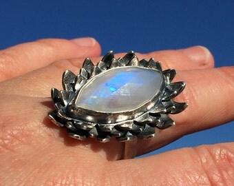 Winter Ring. Rainbow Moonstone, Sterling Silver. Primitive, Raw, Organic, Tribal, Boho, Bohemian, Rustic, Amulet, Talisman.