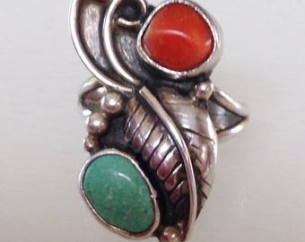 Native American Vintage Navajo Turquoise Coral Sterling Silver leaf Scroll Ring Size 6.5