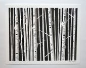 Original Ink Birch Trees Painting, Minimalist Black Trees, White birch trees night, Black and white nature, Forest, Woodland Art, Monochrome