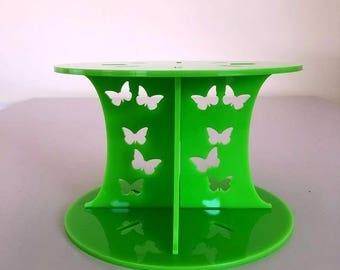 "Butterfly Round Lime Green Gloss Acrylic Cake Pillars/Cake Separators, for Wedding / Party Cakes 10cm 4"" High, Size 6"" 7"" 8"" 9"" 10"" 11"" 12"""