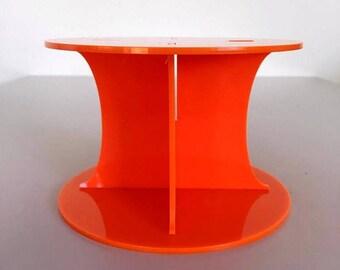 "Plain Round Orange Gloss Acrylic Cake Pillars / Cake Separators, for Wedding / Party Cakes 10cm 4"" High, Size 6"" 7"" 8"" 9"" 10"" 11"" 12"""