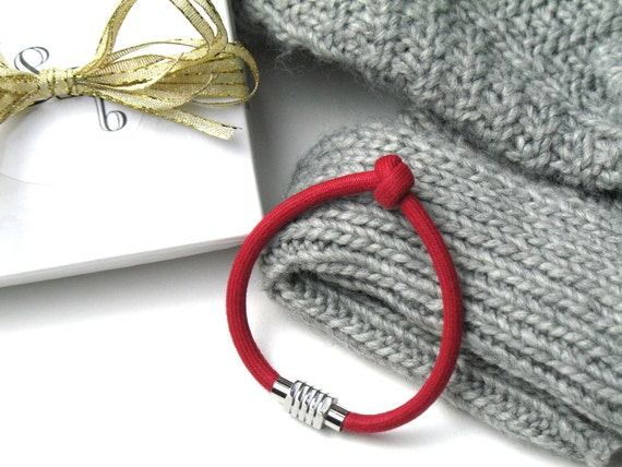 Knot Bracelet in Red Mokuba Cord with Silver Magnetic Clasp